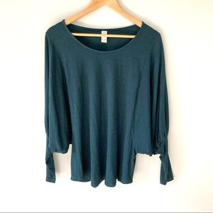 Chalet Dolman Sleeve Top Bamboo Teal Oversized